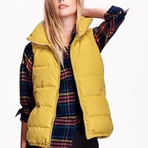 Old Navy mustard yellow puffer vest